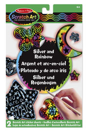 SCRATCH ART STICKERS - SILVER AND RAINBOW R: 15824