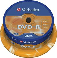 PAQ / 25 DVD-R VERBATIM 4, 7 GB R: 43522