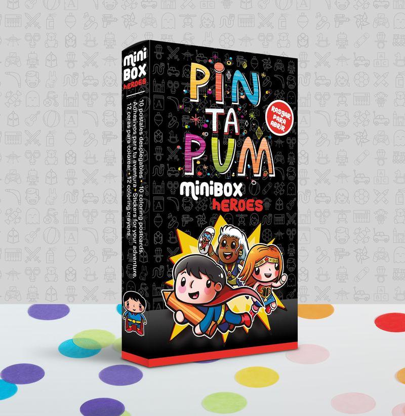 PIN TA PUM MINI BOX HEROES : POSTALES, PEGATINAS