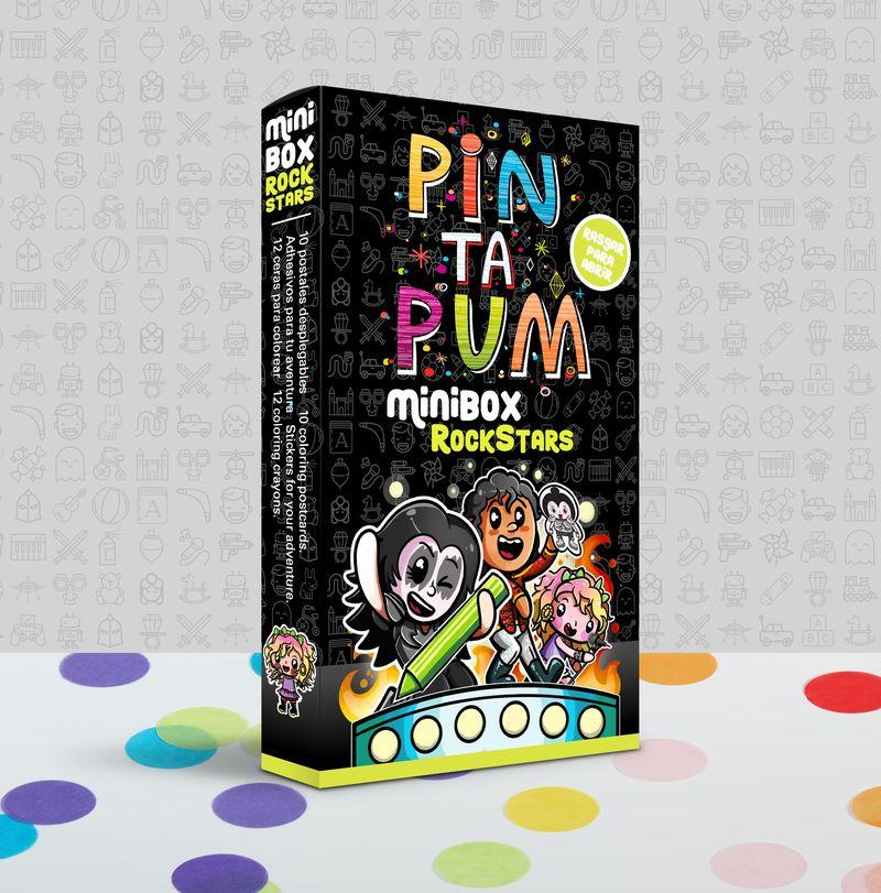 PIN TA PUM MINI BOX ROCK STAR : POSTALES, PEGATINAS