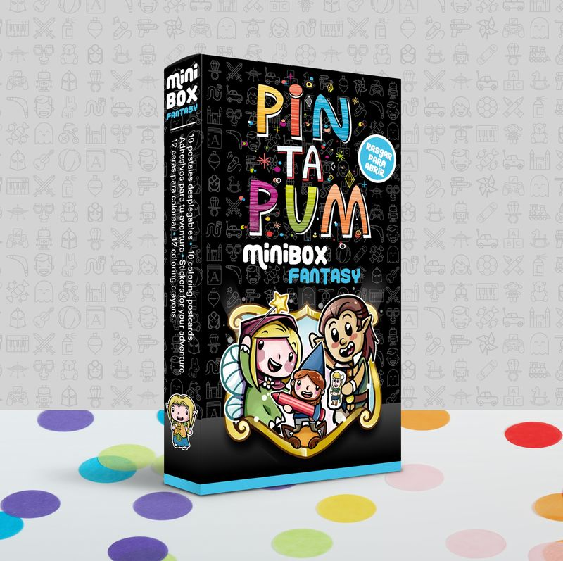 PIN TA PUM MINI BOX FANTASY : POSTALES, PEGATINAS