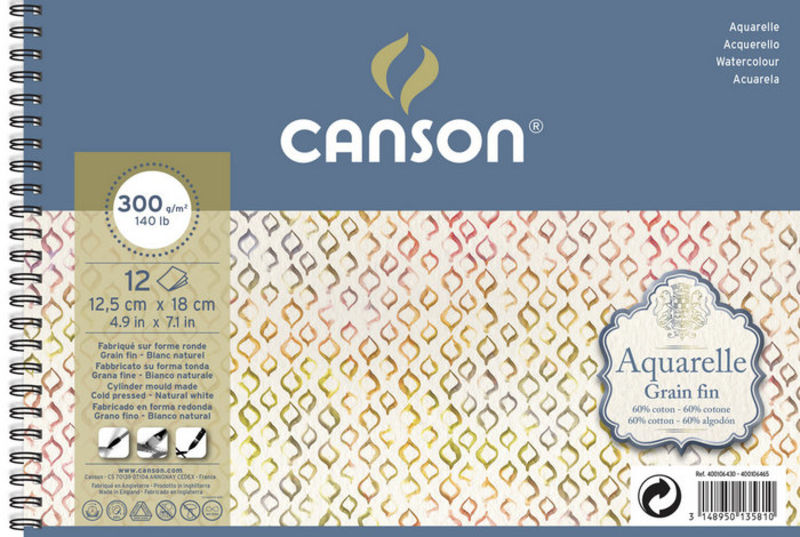 BLOC CANSON AQ 12H 12, 5X18 GF 300g R: C400106430