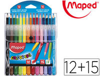 C / 12 ROTULADORES + 15 LAPICES COLOR PEPS FUNDA H$S R: 897412
