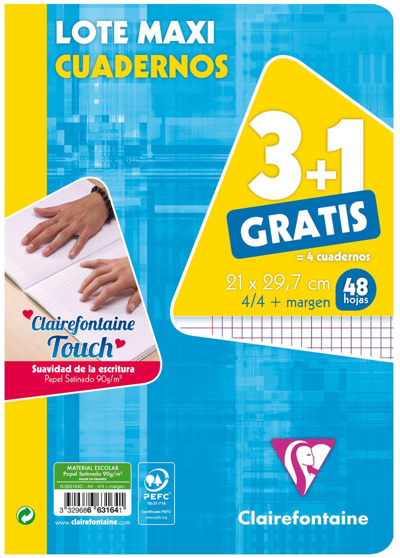 PAQ / 3+1 LIBRETA A4 48H CUAD.4X4 C / M R: 663164C