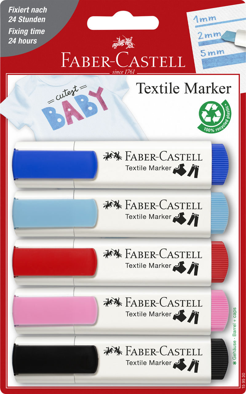 BLISTER CON 5 MARCADORES TEXTILES. COLORES BABY-PARTY