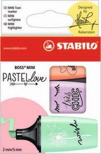 ESTUCHE 3 STABILO BOSS MINI PASTEL LOVE MENTA / VIOLETA / MELOCTON R: 07 / 03-47