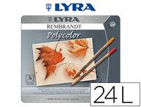 C / 24 LAPICES COLORES REMBRANDT POLYCOLOR CAJA METAL. LYRA R: 2001240