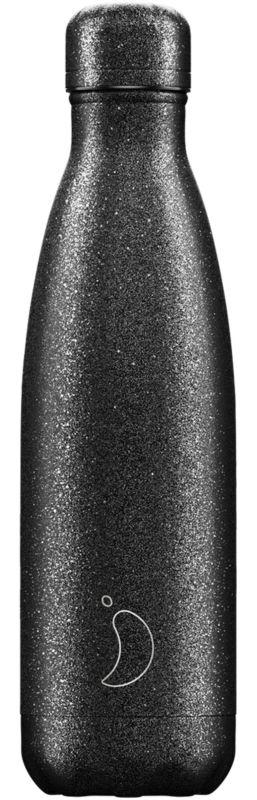 Botella Inox Glitter Negra 500ml -
