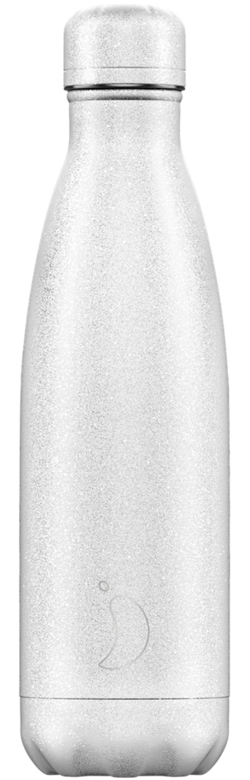 Botella Inox Glitter Blanca 500ml -