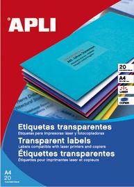 BLIS / 20H ETIQUETAS A4 POLIESTER TRANSPARENTES R: 01225