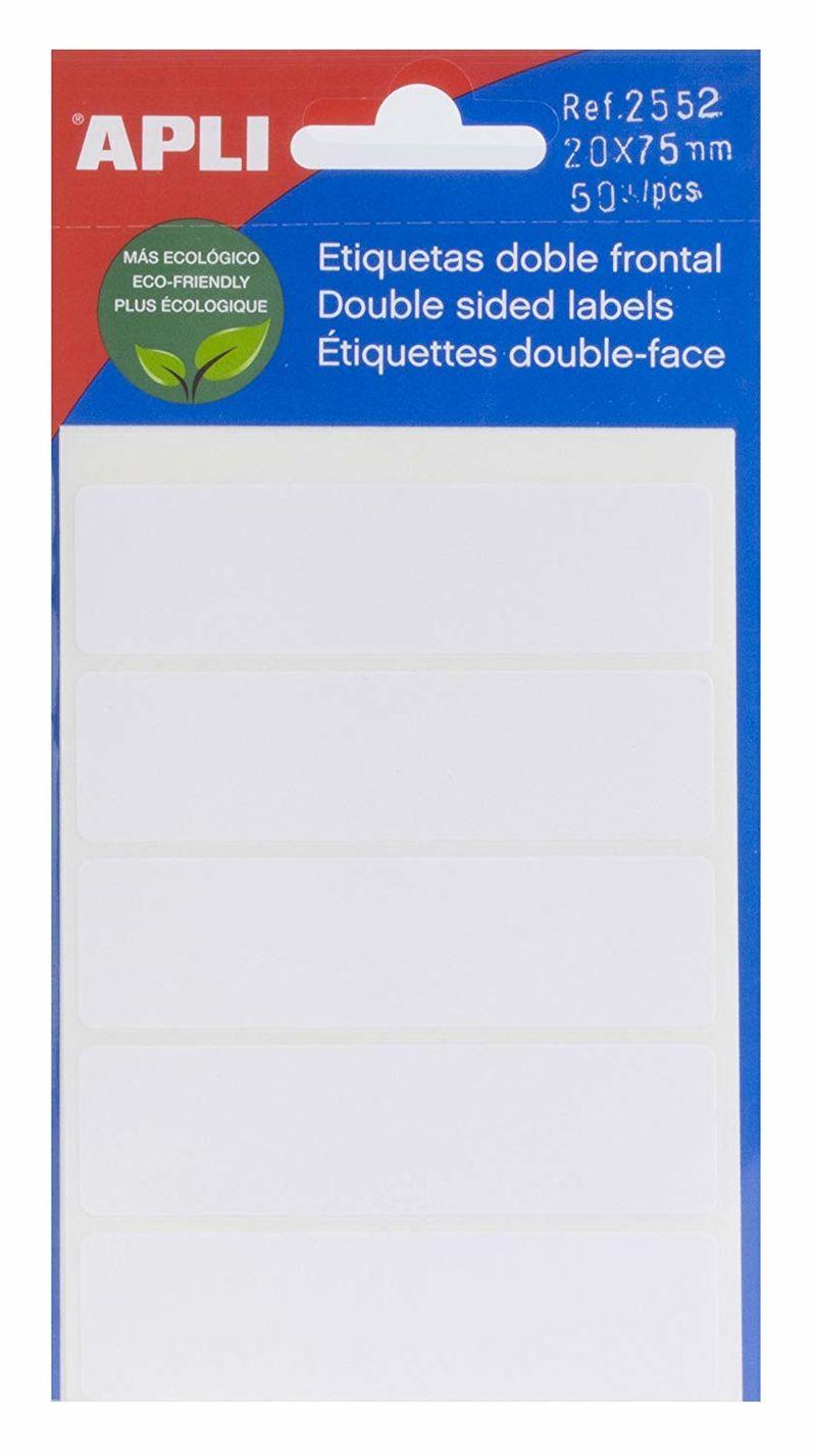 SOBRE ETIQUETAS DOBLE FRONTAL 20x75 50u R: 2552