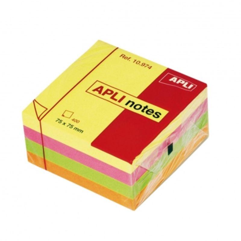 CUBO NOTAS ADHESIVAS APLI 75x75 400H COLORES BRILLANTES R: 10974