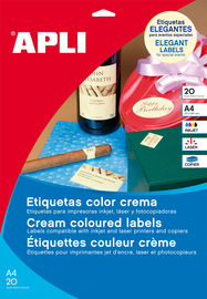 PAQ / 20H ETIQ. A4 70X37 CREMA R: 11800