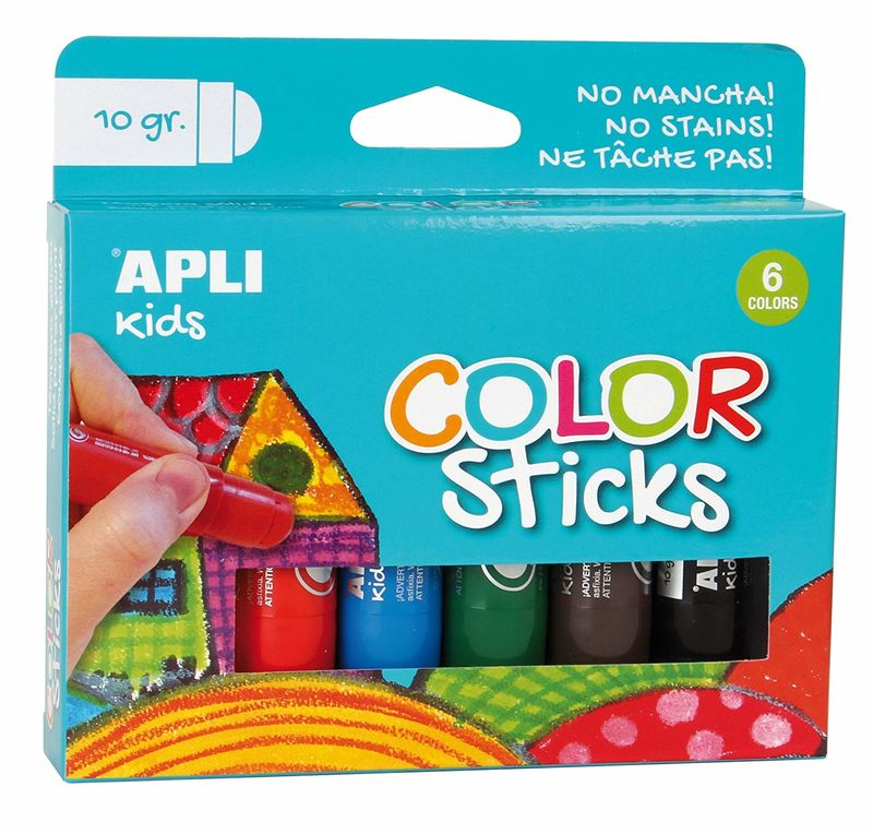 C / 6 TEMPERA SOLIDA COLOR STICK 10gr SURTIDOS R: 14227