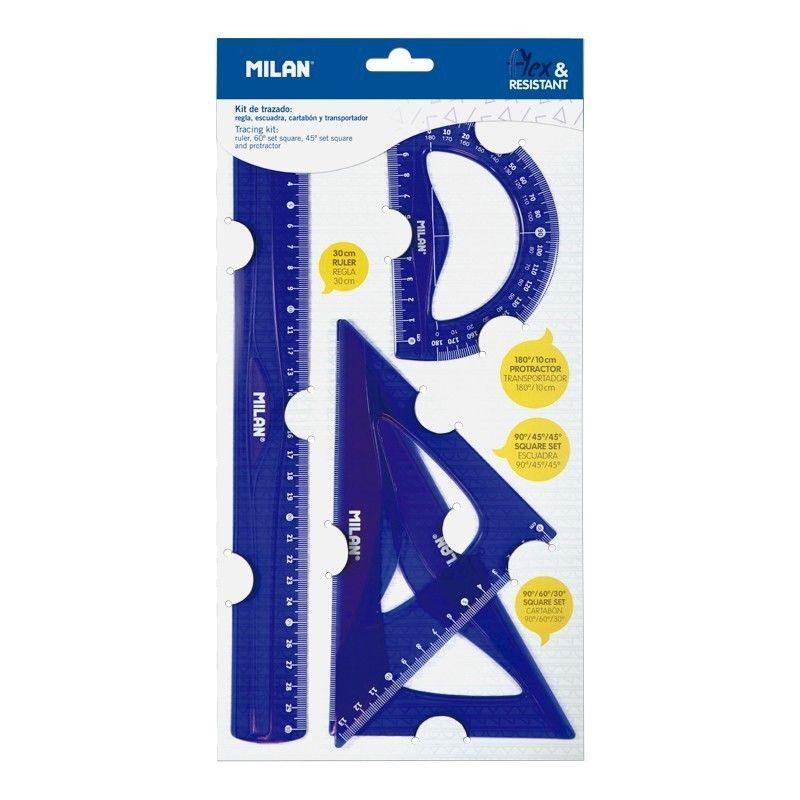 Blister / Regla 30cm, Escuadra, Cartabon Y Transportador Azul R: 359801 -