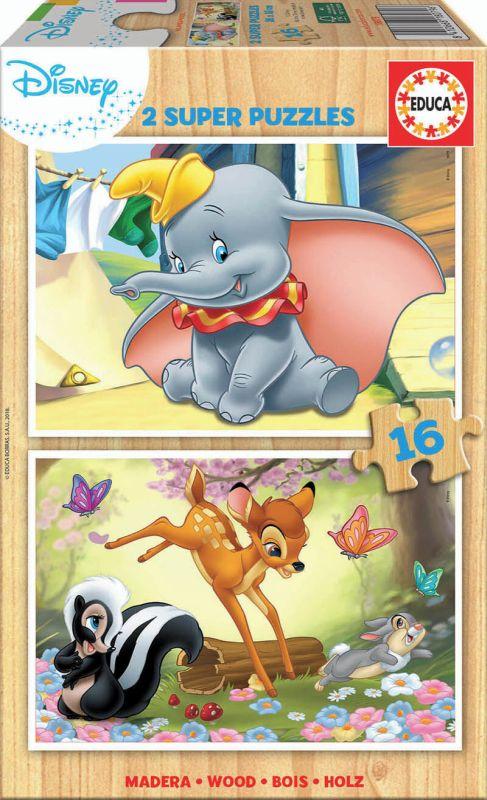 SUPER PUZZLE MADERA 2x16 * DISNEY ANIMALS DUMBO+ BAMBI