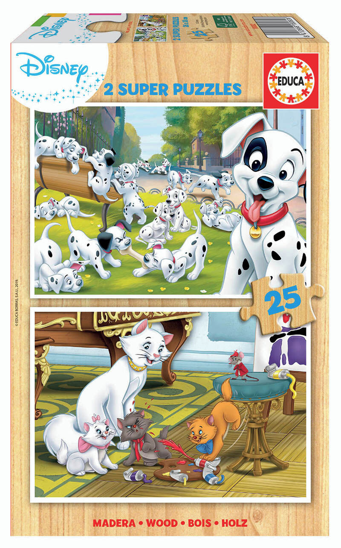 SUPER PUZZLE MADERA 2x25 * DISNEY ANIMALS DALMATAS+ ARISTOGATOS