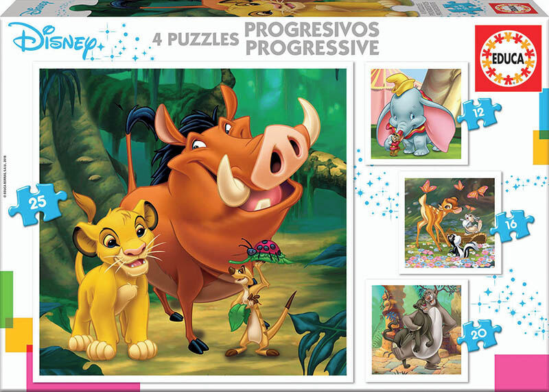 PUZZLES PROGRESIVOS * DISNEY ANIMALS DUMBO+BAMBI+LION KING+JUNGLE BOOK) R: 18104