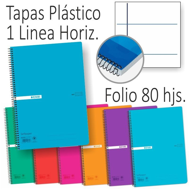 BLOC ENRI Fº 80H CUAD. 4x4 MARGEN TAPA PLASTICO