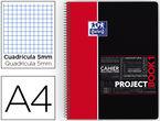 Projectbook 1 A4+ 80h Cuad.5x5 90gr Pp Rojo -
