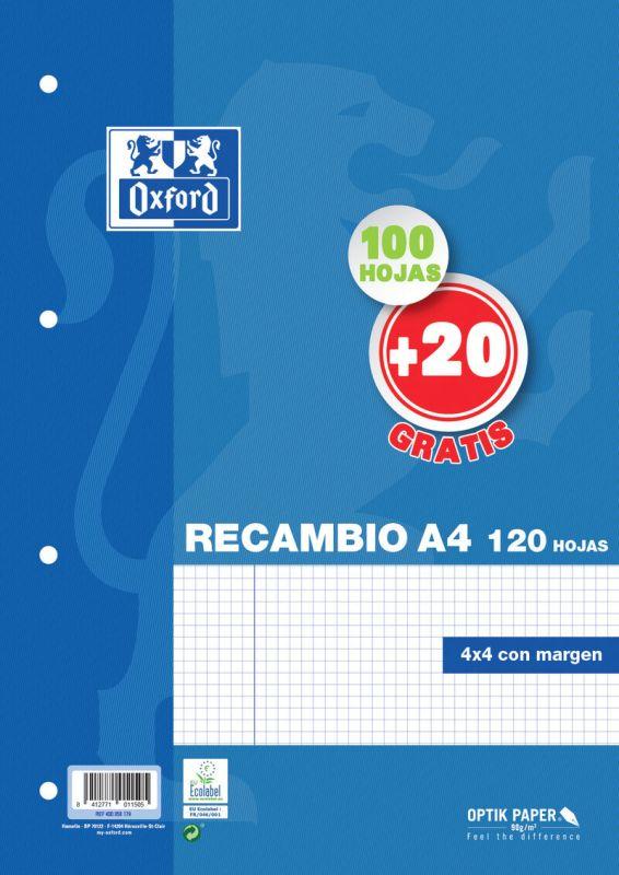 RECAMBIO A4 100H+20H CUAD.4x4 90gr 4 TAL. OXFORD R: 400058179