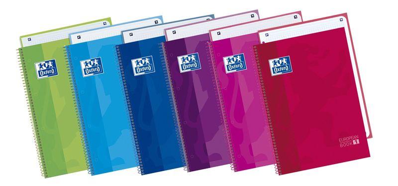 PAQ / 5 EUROPEAN BOOK 1 A4+ 80H CUAD.5X5 90GR MORADO
