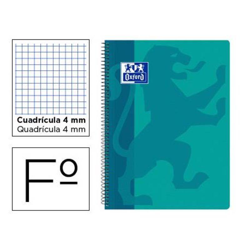 PAQ / 5 BLOC Fº 80H CUAD. 4X4 AQUA TAPA PLASTICO