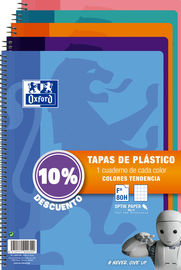 PAQ / 5 BLOC Fº 80H 4X4 90GR PLASTICO COL. TENDENCIA 10% DTO