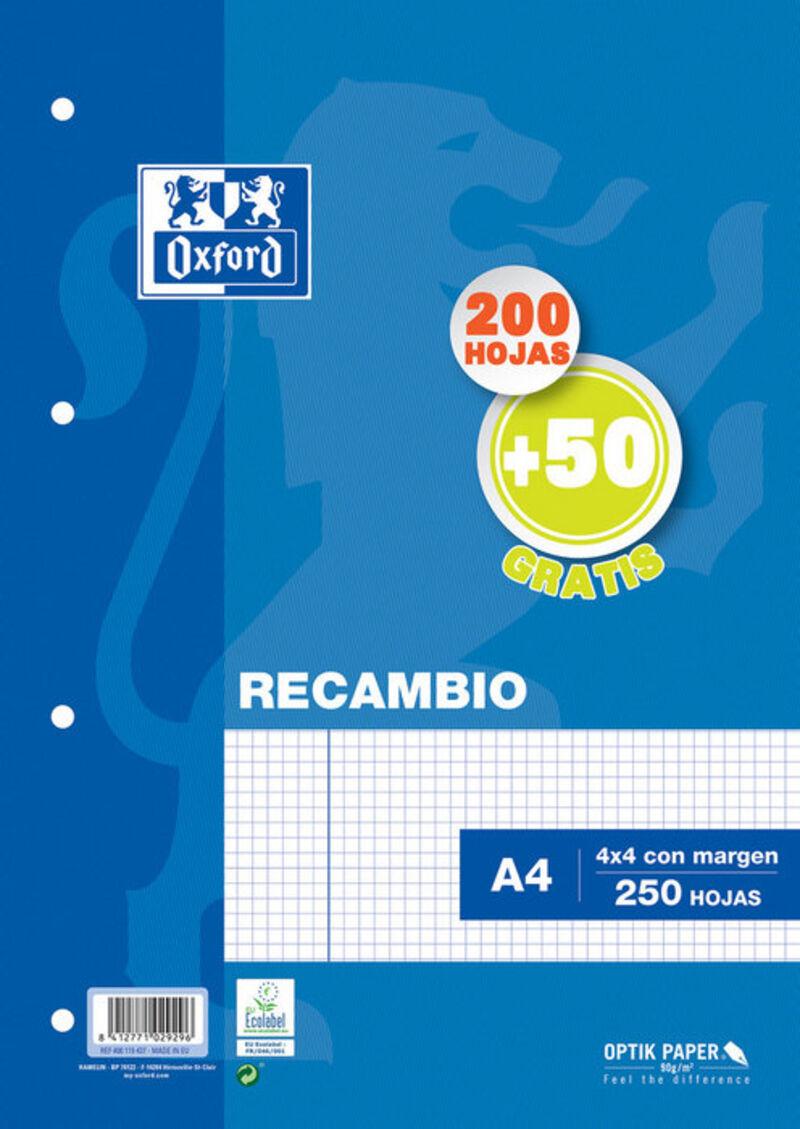 RECAMBIO A4 200H+50H CUAD.4X4 90GR 4 TAL. OXFORD R: 400119437