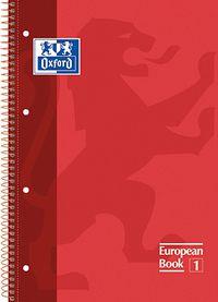 EUROPEAN BOOK 1 A4+ 80H CUAD.5X5 90GR ROJO