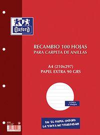 RECAMBIO A4 100H LINEA HORIZ. 4 TAL. OXFORD R: 100430210