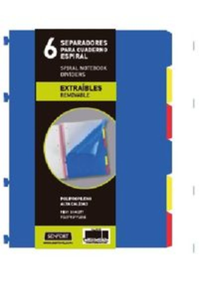 JUEGO 6 SEPARADORES EXTRAIBLES A5 NOTEBOOK