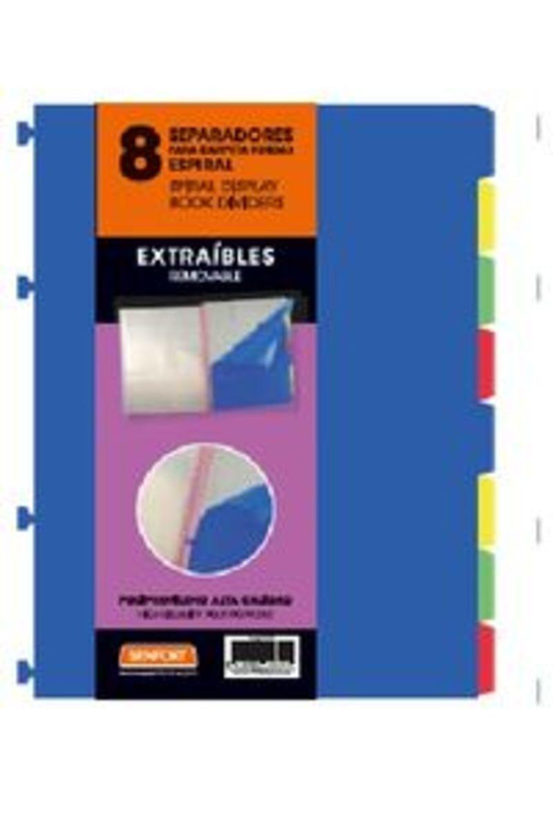 JUEGO 8 SEPARADORES EXTRAIBLES A4 PARA FUNDAS ESPIRAL