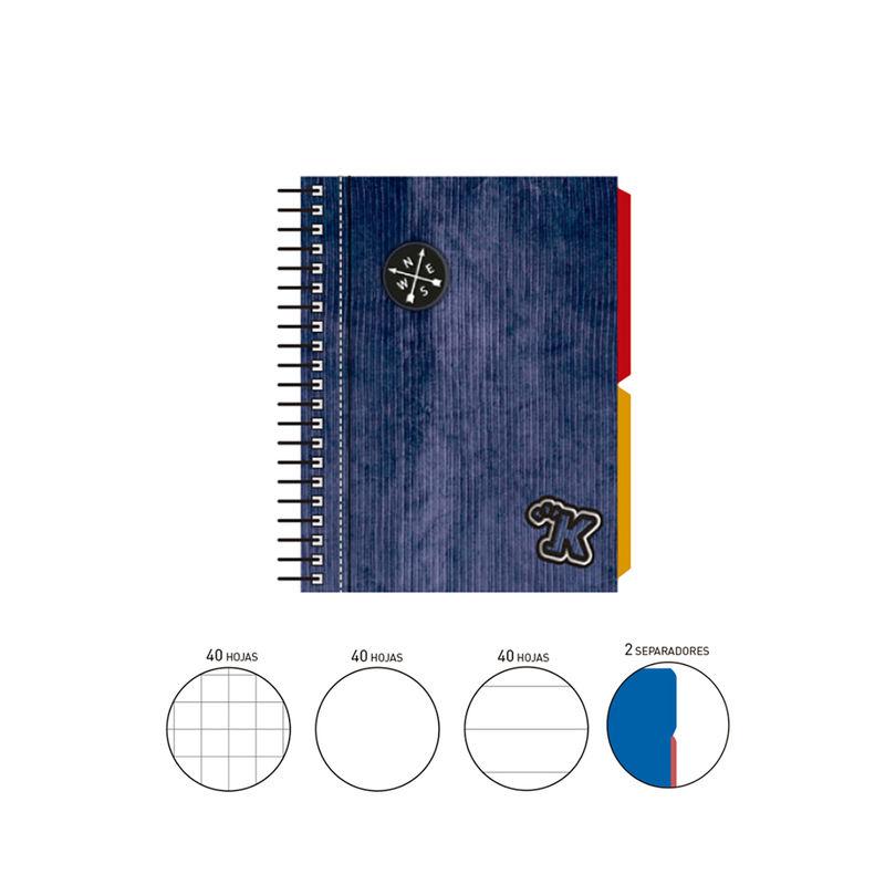 2020 KATACRAK PANA * NOTEBOOK ESPIRAL A6 120 H. (40X3) . + 2 SEPARADORES TAPA FORRADA AZUL