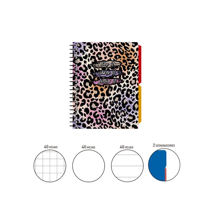 2020 KATACRAK ANIMAL PRINT * NOTEBOOK ESPIRAL A6 120 H. (40X3) . + 2 SEPARADORES TAPA FORRADA MULTICOLOR