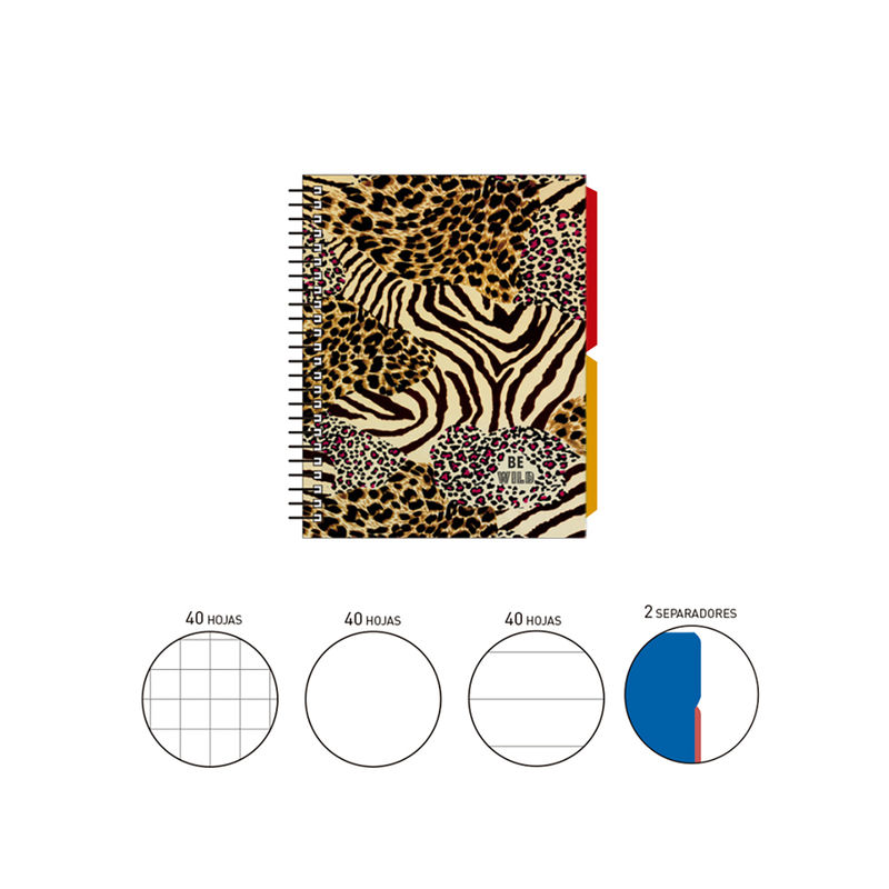 2020 KATACRAK ANIMAL PRINT * NOTEBOOK ESPIRAL A6 120 H. (40X3) . + 2 SEPARADORES TAPA FORRADA ANIMAL PATCHES