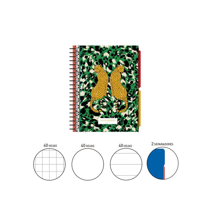 2020 ACCESSORIZE * NOTEBOOK ESPIRAL A6 120 H. (40X3) . + 2 SEPARADORES TAPA FORRADA LEOPARD VERDE