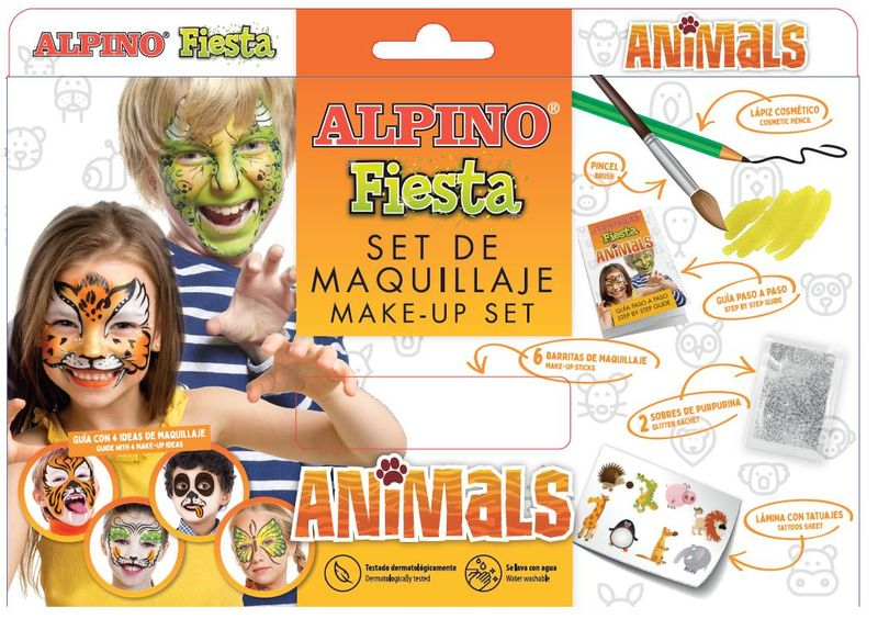 SET / 6 MAQUILLAJE ALPINO FIESTA ANIMALS 5gr COLORES SURTIDOS