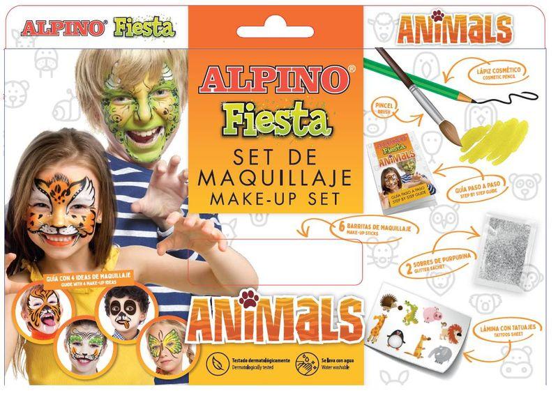 SET / 6 MAQUILLAJE ALPINO FIESTA ANIMALS 5gr COLORES SURTIDOS