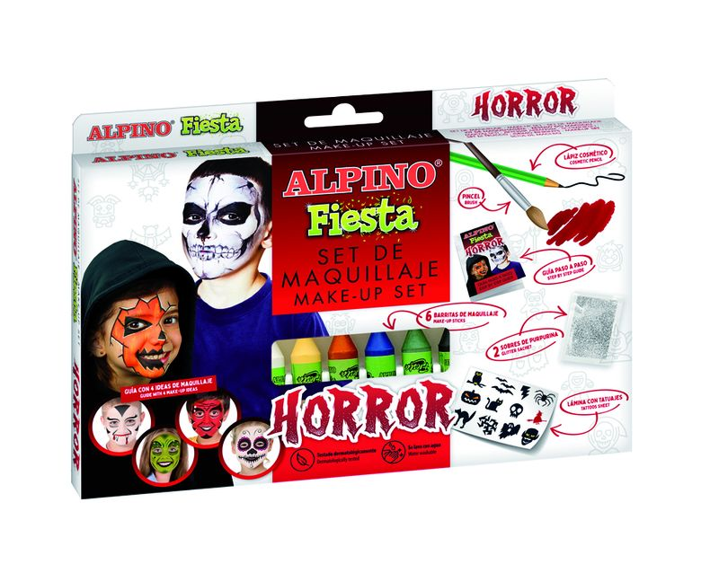SET / 6 MAQUILLAJE ALPINO FIESTA HORROR 5gr COLORES SURTIDOS
