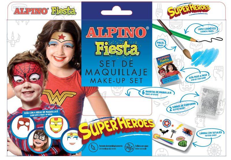 SET / 6 MAQUILLAJE ALPINO FIESTA SUPERHEROES 5gr COLORES SURTIDOS