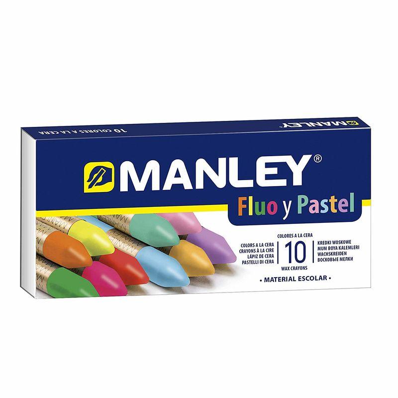 Pinturas Cera 10 Col. Fluo Y Pastel Manley R: Mnc00044 -