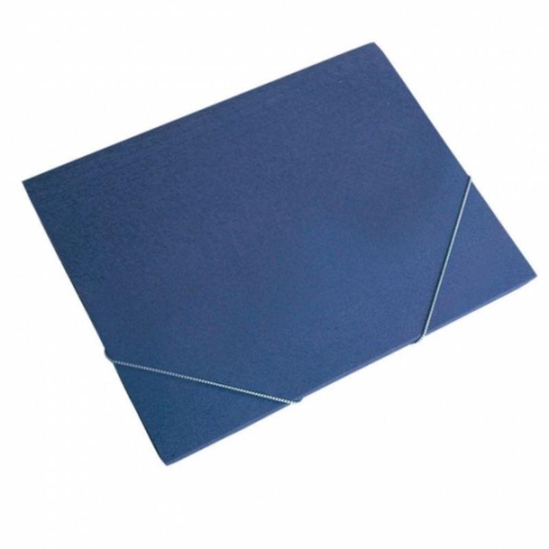 Paq / 12 Carpeta Fº Gomas Sin Solapas Azul Carton -