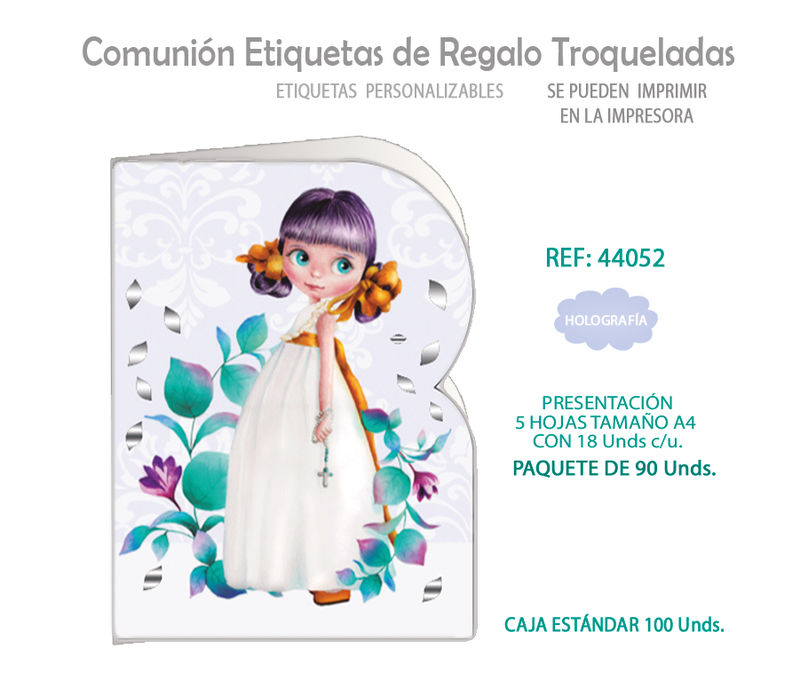 PAQ / 90 ETIQUETAS TROQUELADAS COMUNION NIÑA HOJAS