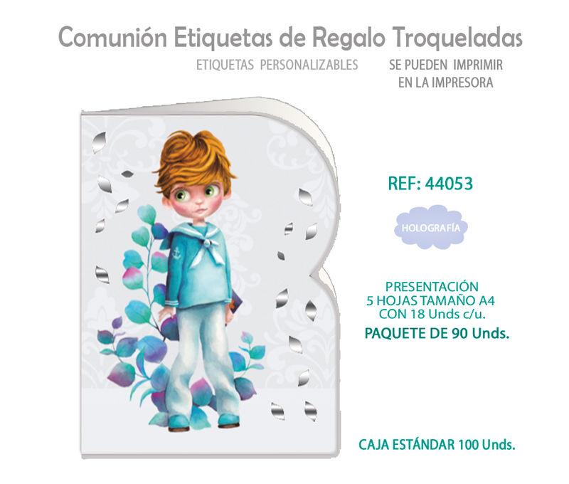 PAQ / 90 ETIQUETAS TROQUELADAS COMUNION NIÑO HOJAS