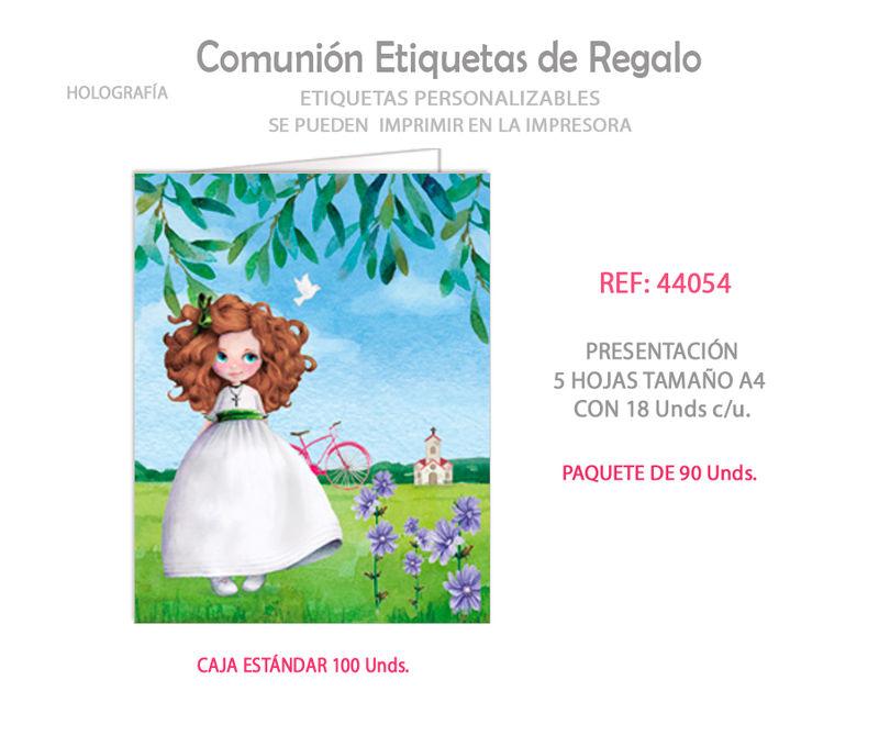 PAQ / 90 ETIQUETAS COMUNION NIÑA BICICLETA