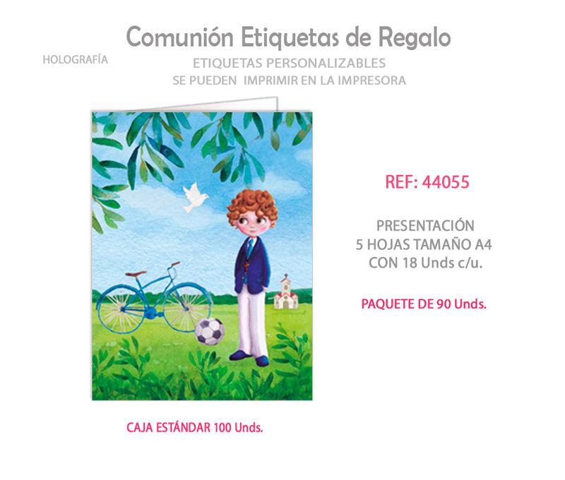 PAQ / 90 ETIQUETAS COMUNION NIÑO BICICLETA