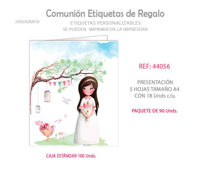 PAQ / 90 ETIQUETAS COMUNION NIÑA ARBOL