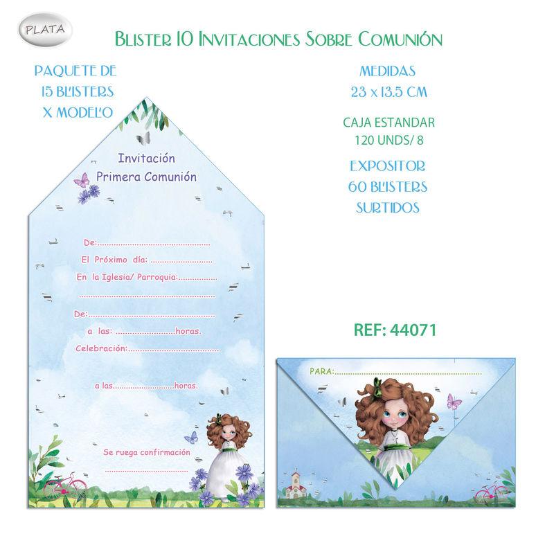 BLISTER / 10 INVITACION SOBRE COMUNION NIÑA BICI