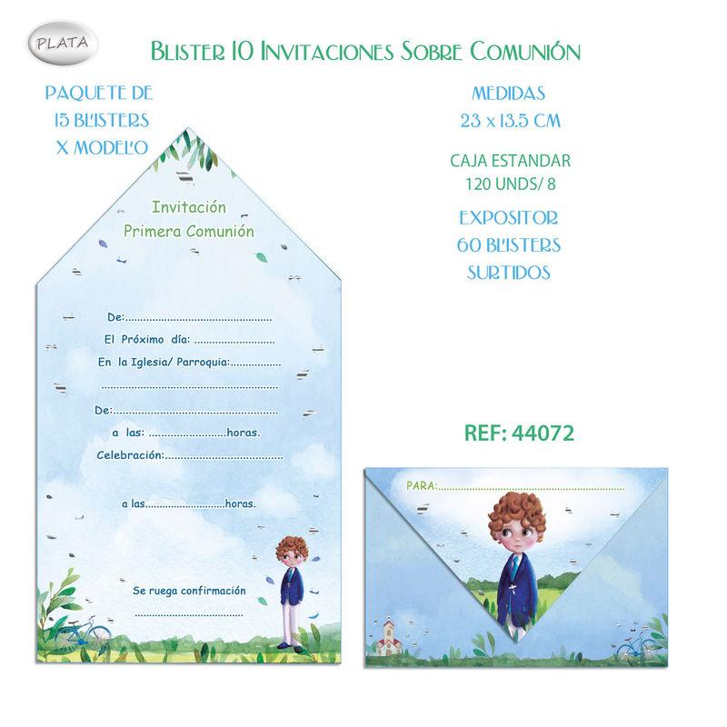BLISTER / 10 INVITACION SOBRE COMUNION NIÑO BICI